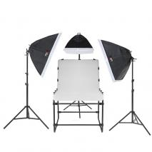LIFE of PHOTO Aufnahmetisch-Set AT-6090-3, 12x150 W mit Galgenstativ