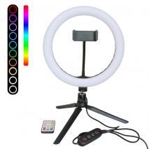 METTLE RGB Selfie-Ringleuchte RL-10 Ø 25 cm, Tisch-Ringlicht mit Stativ, FB, Smartphone-Halter, USB