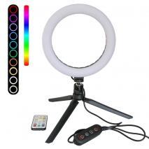 METTLE RGB Selfie-Ringleuchte RL-8 Ø 20 cm, Tisch-Ringlicht mit Stativ, Fernbedienung, USB