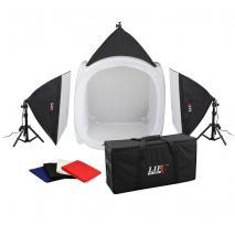 LIFE of PHOTO Mobiles Lichtzelt-Set LC-80, Lichtwürfel 80 cm, 3x150 W mit Tasche