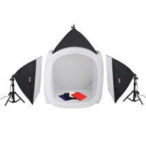 LIFE of PHOTO Mobiles Lichtzelt-Set LC-40, Lichtwürfel 40 cm, 3x85 W