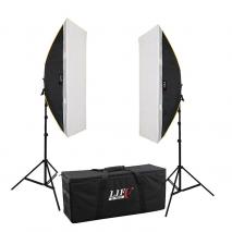 LIFE of PHOTO Daylight Studioset LS-1490, 8x150 W mit Striplight-Softbox & Tasche