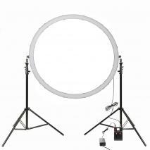 METTLE XXL Bi-Color LED Ringleuchte Ringlicht Set RL-120B Ø 120 cm mit Stativen & DMX
