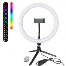 METTLE RGB Selfie-Ringleuchte RL-12 Ø 30 cm, Tisch-Ringlicht mit Stativ, FB, Smartphone-Halter, USB