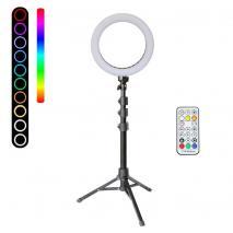 METTLE RGB Selfie-Ringleuchten-SET RLS-8 Ø 20 cm, Ringlicht mit Stativ, Fernbedienung, USB