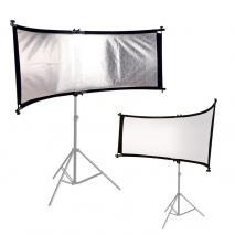 METTLE Reflektorhalter SET mit Rund-Reflektor weiß & silber 66x180 cm