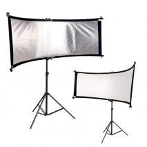 METTLE Reflektorhalter SET mit Rund-Reflektor weiß & silber 66x180 cm und Stativ