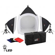 LIFE of PHOTO LED Lichtzelt-Set LC- 80 LED, Lichtwürfel 80 cm, 3x60 W mit Tasche