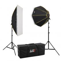 LIFE of PHOTO Daylight Studioset LS-1290, 8x150 W mit Striplight, Octobox & Tasche