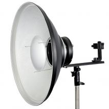 METTLE Beauty Dish 42 cm silber für Systemblitz mit Blitzhalter T-Form