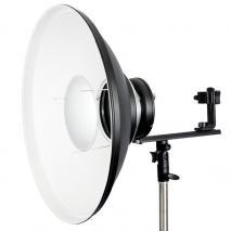 METTLE Beauty Dish 42 cm weiß für Systemblitz mit Blitzhalter T-Form