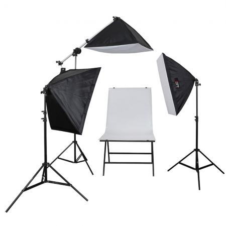 LIFE of PHOTO Aufnahmetisch-Set AT-5070-3, 3x150 W mit Galgenstativ