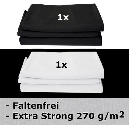 METTLE SET Faltenfreier Stoffhintergrund super strong, 1x schwarz & 1x weiß, 3x6 m