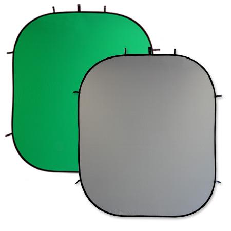 LIFE of PHOTO 2-in-1 Falthintergrund 2,10x1,80 m, grau-grün