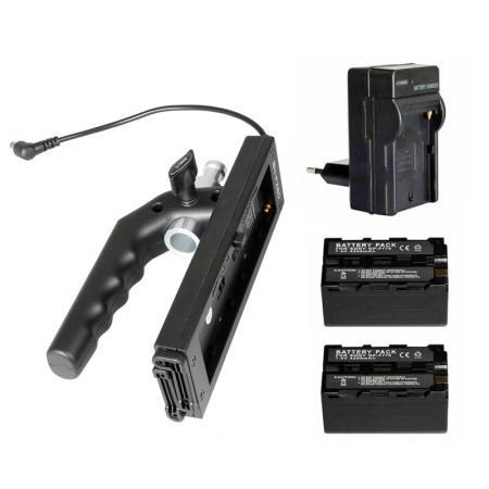 NANLITE Mobile Kit MK60 - Griff mit 2x Akku + Ladegerät für LED-Leuchte FORZA 60