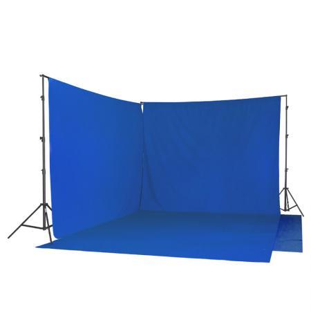 METTLE Hintergrund-SET: Doppel-Teleskop-Hintergrundsystem & 2x Stoffe blau