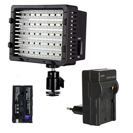 LED-Videoleuchte Videolicht-Set CN-170-S mit Li-Ion Akku & Ladegerät