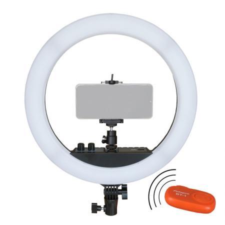 METTLE Selfie LED Ringlicht-Set RLS-12 II mit Smartphone Halterung, Funkauslöser