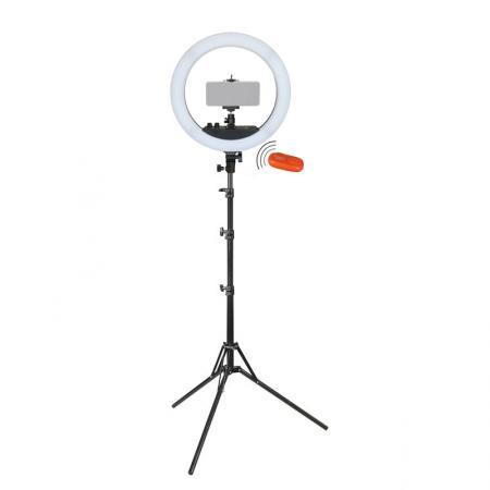 METTLE Selfie LED Ringlicht-Set RLS-12 II PLUS mit Smartphone Halterung, Funkauslöser, Stativ