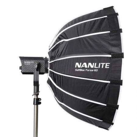 NANLITE SET: LED Studioleuchte FORZA 60 mit Parabol-Softbox SB-FZ60 Ø 60 cm