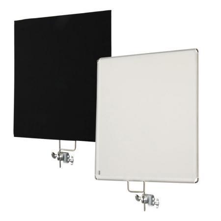 LIFE of PHOTO 2-in-1 Reflektor Panel weiß & schwarz 75x90 cm mit Halterung