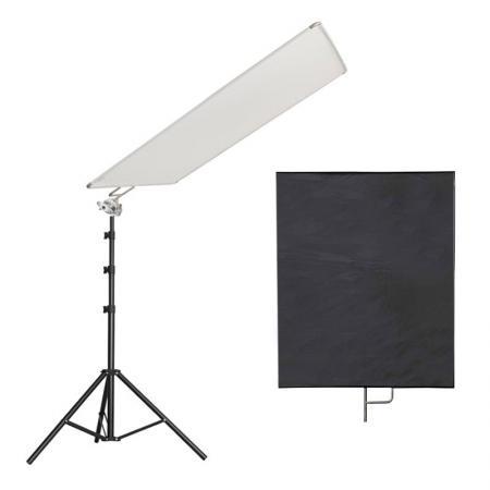 LIFE of PHOTO 2-in-1 Reflektor SET weiß & schwarz 75x90 cm mit Studiostativ