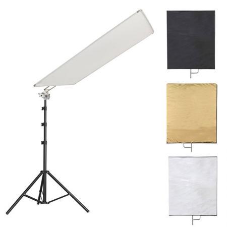 LIFE of PHOTO 4-in-1 Reflektor SET weiß, schwarz, silber, gold 75x90 cm mit Studiostativ