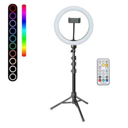 METTLE RGB Selfie-Ringleuchte SET RLS-10 Ø 25 cm, Ringlicht mit Stativ, FB, Smartphone-Halter, USB