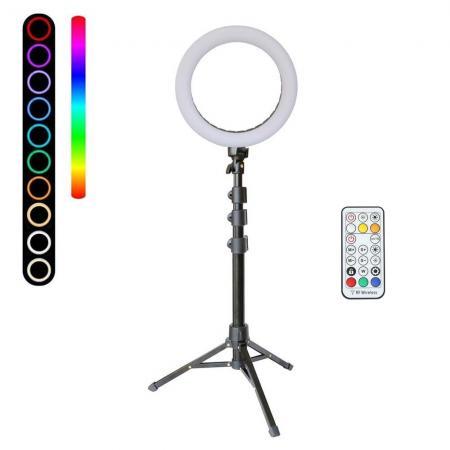 METTLE RGB Selfie-Ringleuchte SET RLS-8 Ø 20 cm, Ringlicht mit Stativ, Fernbedienung, USB