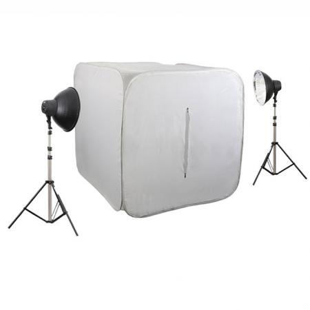 METTLE Studioset CUBE 600 mit Foto-Lichtzelt 120 cm, 8x32 W