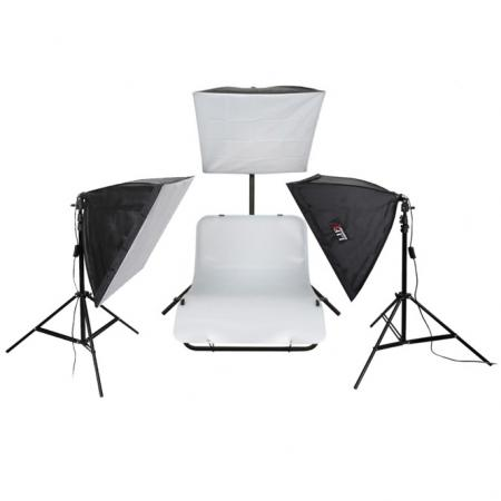 LIFE of PHOTO Aufnahmetisch-Set AT-4040-3, mit Softboxen 40x40 cm & 3x105 W
