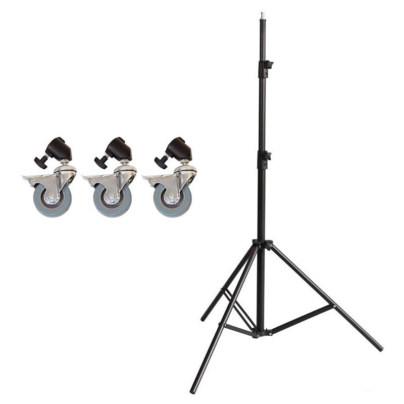 Wechselspigot Studiostativ Lampenstativ METTLE Bodenstativ 49-74 cm mit Rollen