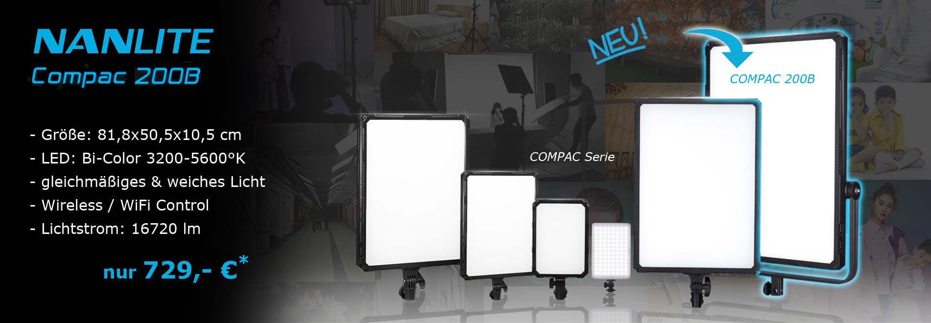 Studiobeleuchtung NANLITE COMPAC 200 LED-Flächenleuchte