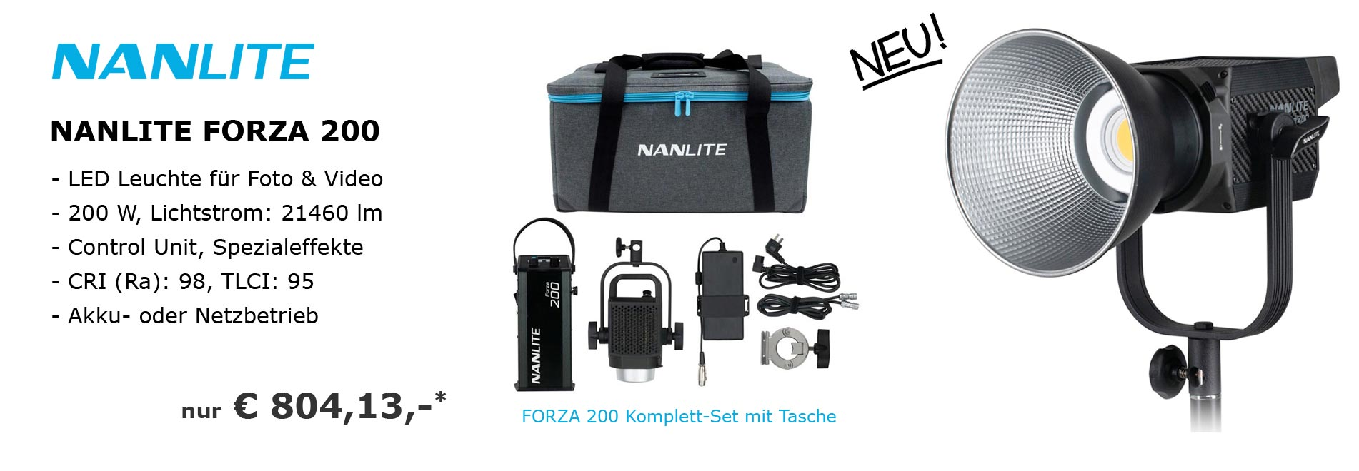 NANLITE FORZA 200 LED Studio-Leuchte für Foto und Video